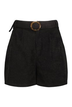 Black Plus Cord Belted Pocket Short