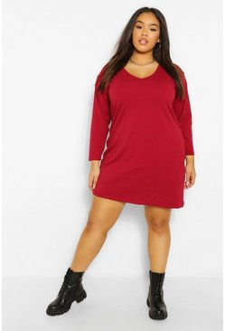 Berry red Plus Long Sleeve V Neck  T-Shirt Dress