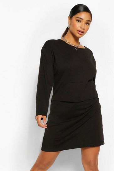 Black Plus Long Sleeve Oversized T-Shirt Dress
