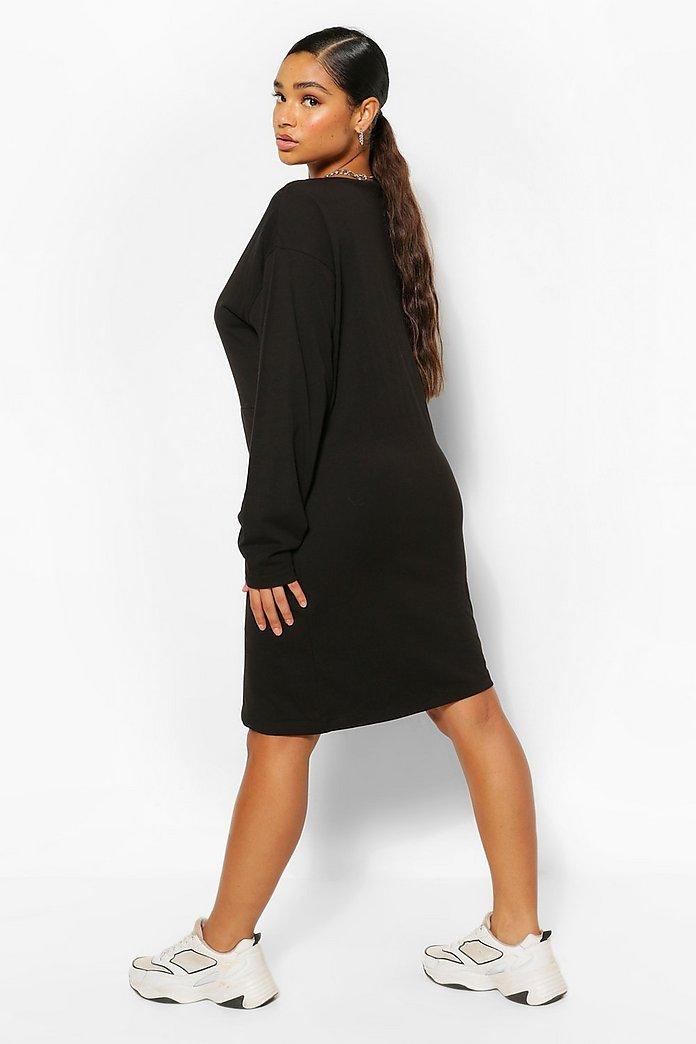 Långärmad t shirtklänning med axelvaddar | boohoo SE