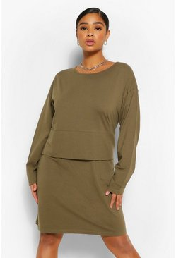 Khaki Plus Long Sleeve Oversized T-Shirt Dress