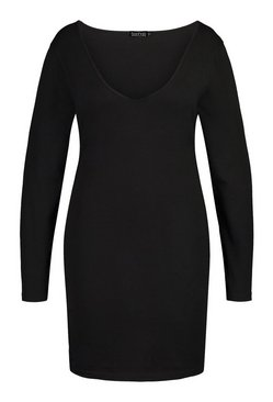 Black Plus V Neck Long Sleeve Bodycon Mini Dress