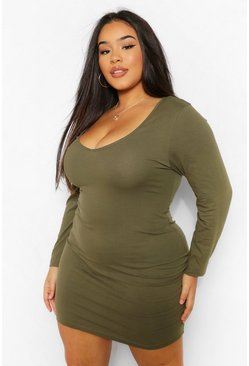 Khaki Plus V-Neck Long Sleeve  Bodycon Mini Dress