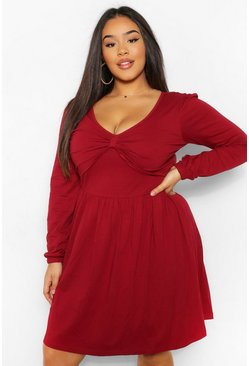 Berry red Plus Long Sleeve Twist Front Skater Dress