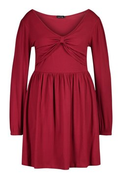 Berry Plus Long Sleeve Twist Front Skater Dress