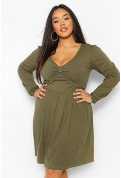 Khaki Plus Long Sleeve Twist Front Skater Dress