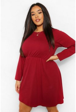 Berry red Plus Long Sleeve Crew Neck Smock Dress