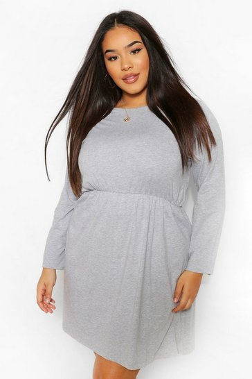 Grey Plus Long Sleeve Crew Neck Smock Dress