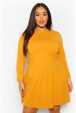 Mustard yellow Plus Long Sleeve Crew Neck Tiered Smock Dress