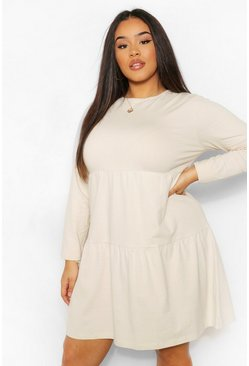 Stone beige Plus Long Sleeve Crew Neck Tiered Smock Dress