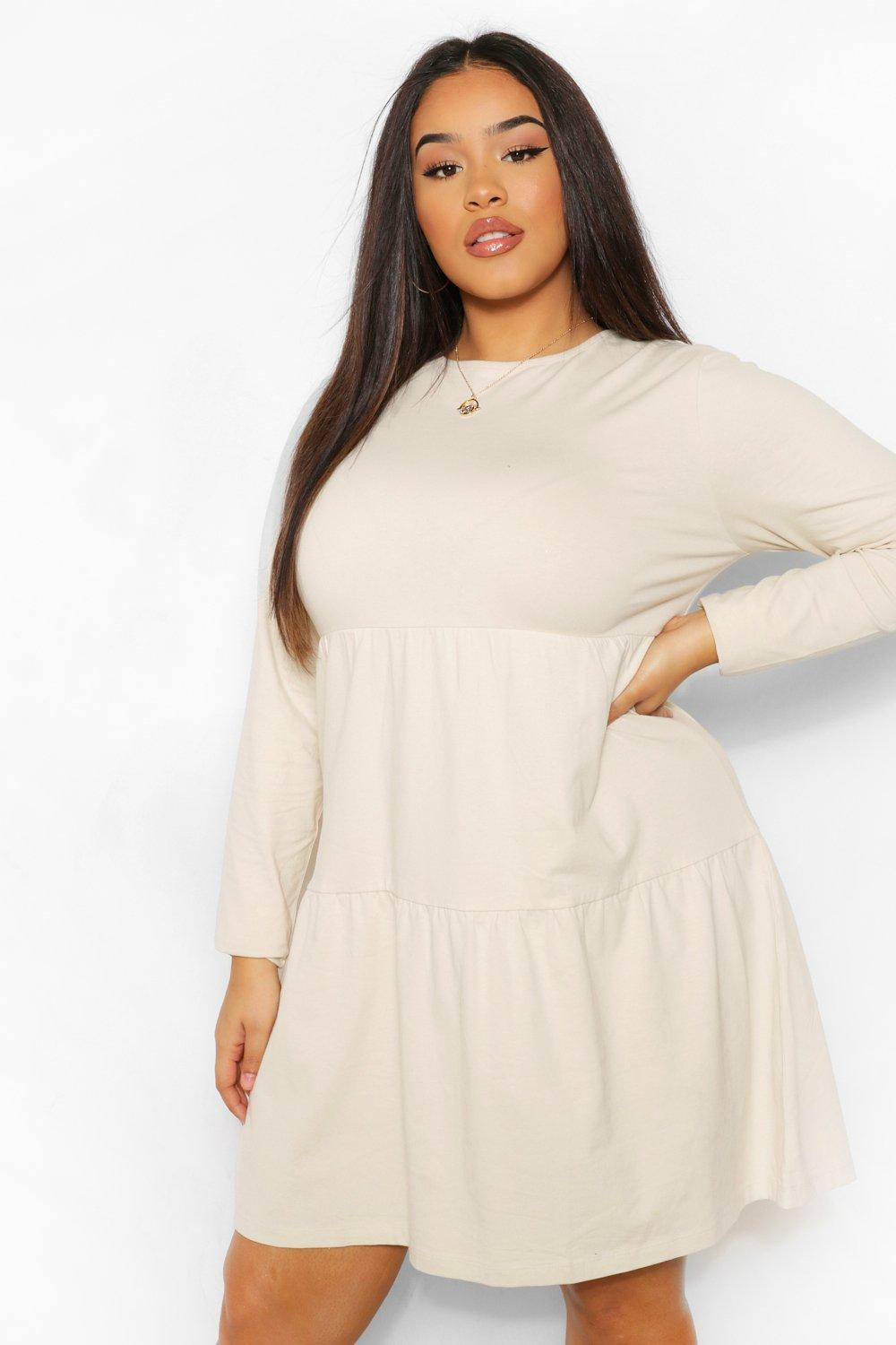 Plus Long Sleeve Crew Neck Tiered Smock Dress 19