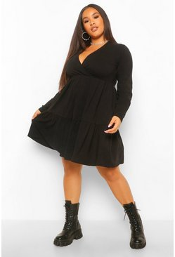 Black Plus Long Sleeve Wrap Smock Dress
