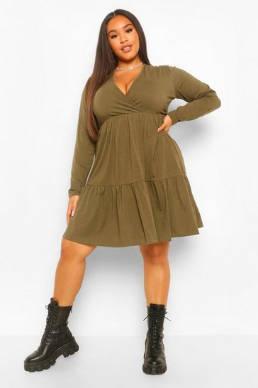 Khaki Plus Long Sleeve Wrap Smock Dress