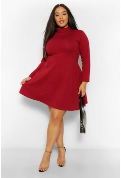 Berry red Plus Long Sleeve High Neck Skater  Dress