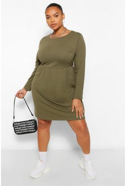 Khaki Plus Long Sleeve Crew Neck Smock Dress