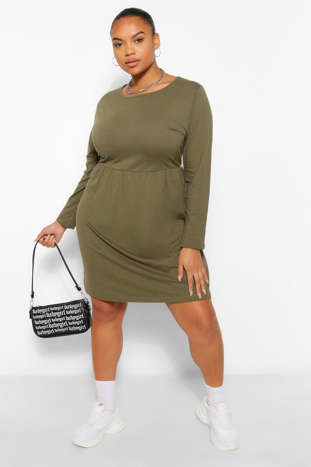Plus Long Sleeve Crew Neck Smock Dress 14