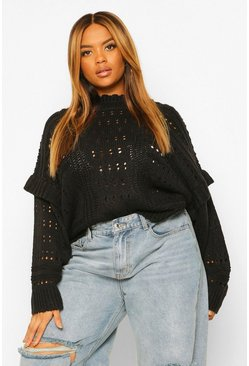 Black Plus Chunky Knit High Neck Ruffle Jumper
