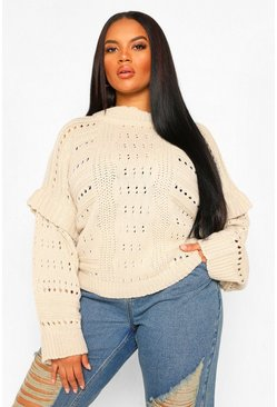 Oatmeal Plus Chunky Knit High Neck Ruffle Jumper
