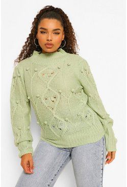 Sage green Plus Bobble Puff Sleeve Jumper