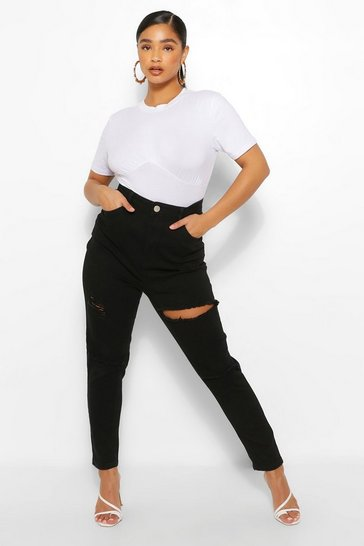 Black Plus Distressed Rip Knee Skinny Jean