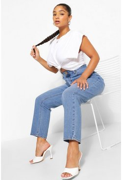 Mid blue Mid Rise Vintage Wash Mom Jeans