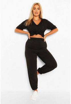 Black Plus V Neck T-Shirt Tracksuit