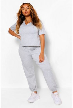Grey Plus V Neck T-Shirt and Jogger Set
