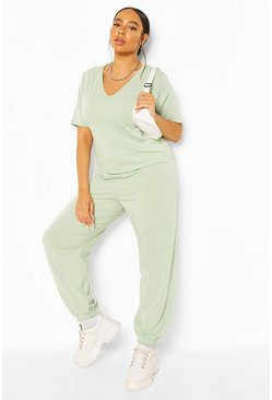 Mint green Plus V Neck T-Shirt and Jogger Set
