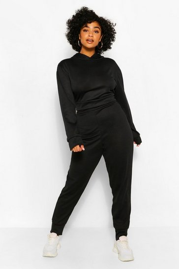 Black Plus Melange Knit Hoody & Jogger Set