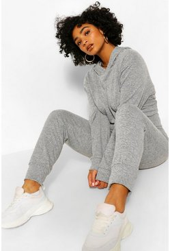 Grey marl grey Plus Melange Knit Hoody & Jogger Set