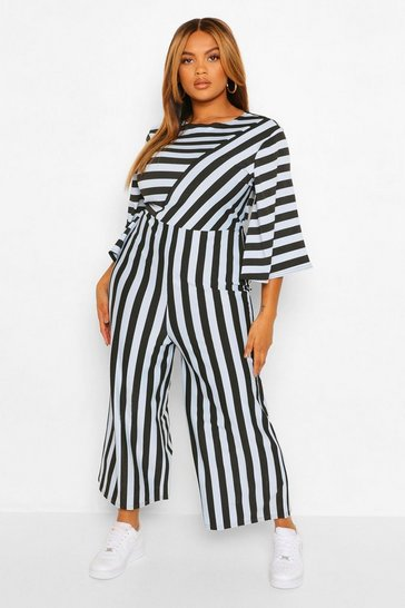 Blue Plus Stripe Jumpsuit