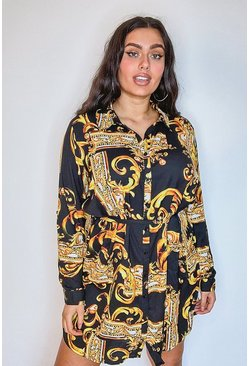Black Plus Chain Printed Shirt Dress