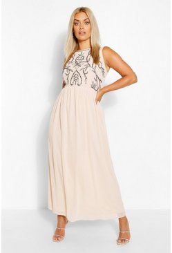 Beige Plus Embellished Maxi Dress