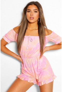 Lilac purple Petite Tie Dye Bardot Playsuit