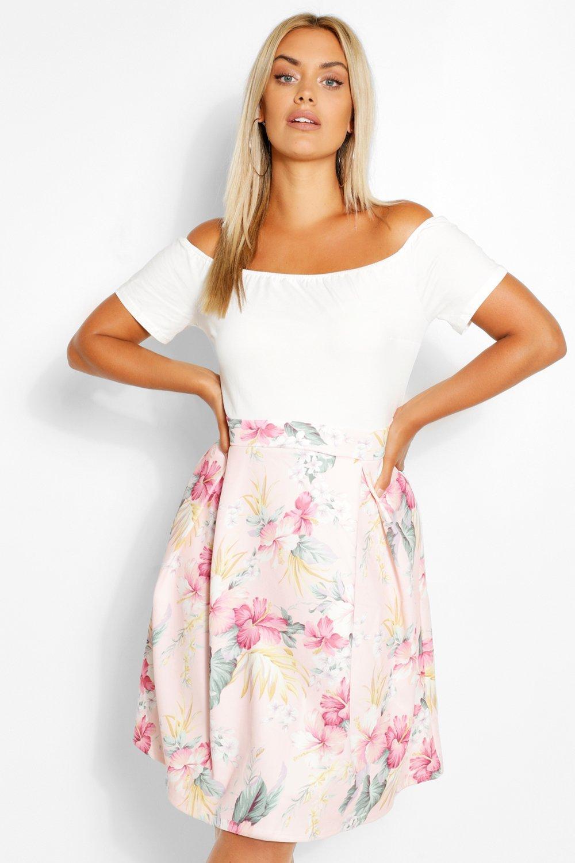 Plus Off the Shoulder Contrast Floral Skater Dress 8