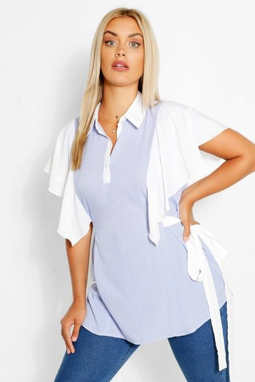 Blue Plus 2 in 1 Ruffle Shirt