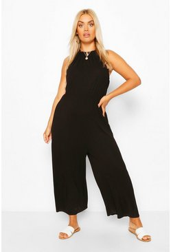 Black Plus Strappy Jersey Jumpsuit