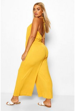 Chartreuse yellow Plus Strappy Jersey Jumpsuit