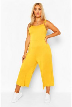Chartreuse yellow Plus Tie Shoulder Jersey Jumpsuit