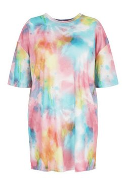 Pink Plus Tie Dye Oversized Beach T-Shirt  Dress