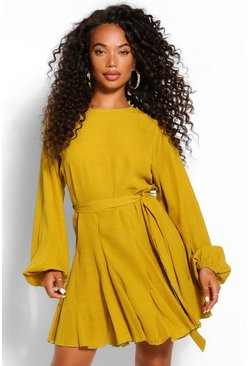 Yellow Petite Polka Dot Volume Sleeve Skater Dress
