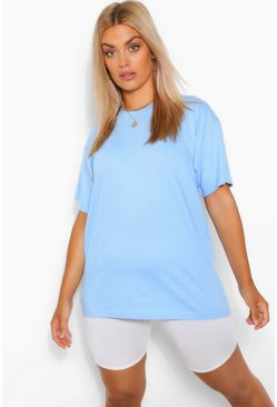 Light blue Plus Basic Crew Neck T-Shirt