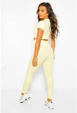 Lime green Petite Fit Seamfree Contrast Gym Leggings