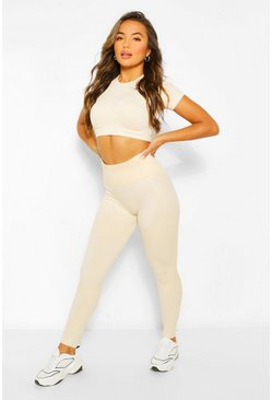 Oatmeal beige Petite Fit Seamfree Contrast Gym Leggings