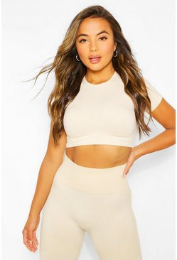 Oatmeal beige Petite Fit Seamfree Contrast Crop Sports Top