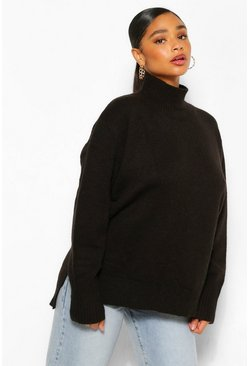 Black Plus Oversized  Roll Neck Side Split Jumper
