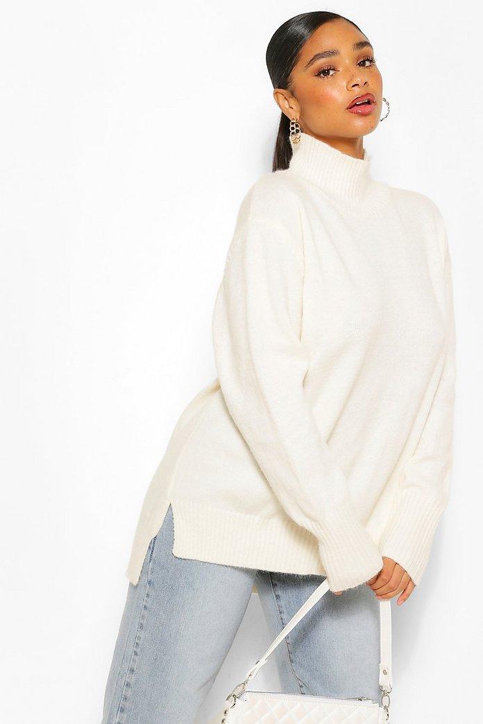 Plus Oversize stickad tröja med polokrage och slitsar | boohoo SE