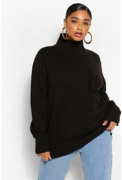 Black Plus Oversized  Pocket Roll Neck Jumper