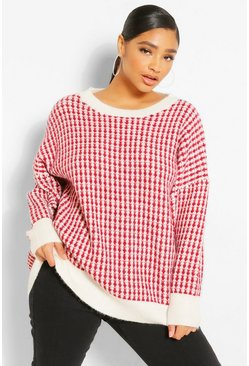 Berry red Plus Oversized  Check Knitted Jumper