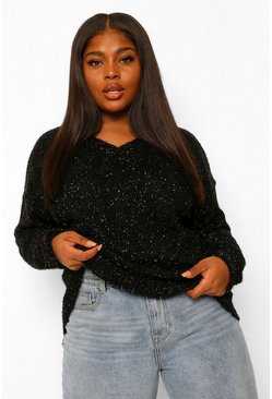 Black Plus V Neck Marl Oversized Jumper
